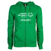 ENZA Ladies Kelly Green Fleece Full Zip Hoodie-Athlete