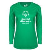 Ladies Syntrel Performance Kelly Green Longsleeve Shirt-Primary Mark Vertical