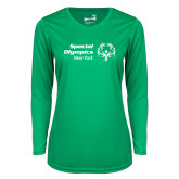 Ladies Syntrel Performance Kelly Green Longsleeve Shirt-Primary Mark Horizontal