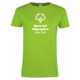 Ladies Lime Green T Shirt-Primary Mark Vertical