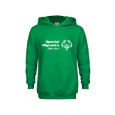 Youth Kelly Green Fleece Hoodie-Primary Mark Horizontal