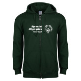 Dark Green Fleece Full Zip Hoodie-Primary Mark Horizontal