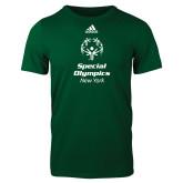 Adidas Dark Green Logo T Shirt-Primary Mark Vertical