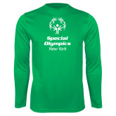 Performance Kelly Green Longsleeve Shirt-Primary Mark Vertical