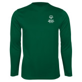 Performance Dark Green Longsleeve Shirt-Primary Mark Vertical