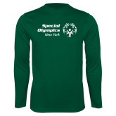Performance Dark Green Longsleeve Shirt-Primary Mark Horizontal
