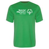 Performance Kelly Green Tee-Primary Mark Horizontal