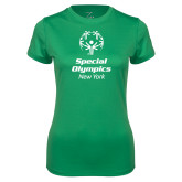 Ladies Syntrel Performance Kelly Green Tee-Primary Mark Vertical