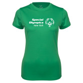Ladies Syntrel Performance Kelly Green Tee-Primary Mark Horizontal