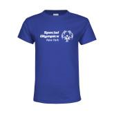Youth Royal T Shirt-Primary Mark Horizontal