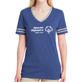 Ladies Royal Heather/Grey Tri Blend Varsity Tee-Primary Mark Horizontal
