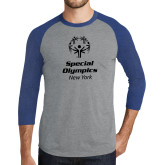 Grey/Royal Heather Tri Blend Baseball Raglan-Primary Mark Vertical
