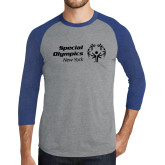 Grey/Royal Heather Tri Blend Baseball Raglan-Primary Mark Horizontal