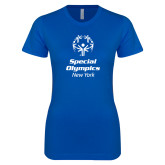 Next Level Ladies SoftStyle Junior Fitted Royal Tee-Primary Mark Vertical