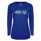 Ladies Syntrel Performance Royal Longsleeve Shirt-Primary Mark Horizontal