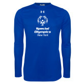 Under Armour Royal Long Sleeve Tech Tee-Primary Mark Vertical