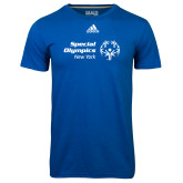 Adidas Climalite Royal Ultimate Performance Tee-Primary Mark Horizontal