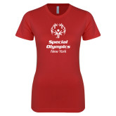 Next Level Ladies SoftStyle Junior Fitted Red Tee-Primary Mark Vertical
