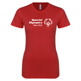 Next Level Ladies SoftStyle Junior Fitted Red Tee-Primary Mark Horizontal