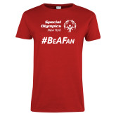 Ladies Red T Shirt-Hashtag Be A Fan