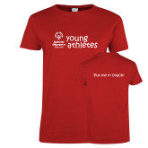 Ladies Red T Shirt-Young Athletes Shirt Front
