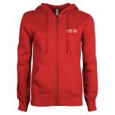 ENZA Ladies Red Fleece Full Zip Hoodie-Primary Mark Horizontal