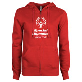 ENZA Ladies Red Fleece Full Zip Hoodie-Primary Mark Vertical