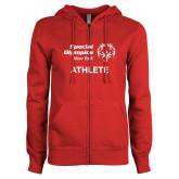 ENZA Ladies Red Fleece Full Zip Hoodie-Athlete