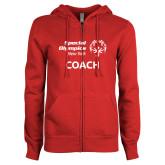 ENZA Ladies Red Fleece Full Zip Hoodie-Coach
