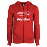 ENZA Ladies Red Fleece Full Zip Hoodie-Hashtag Be A Fan