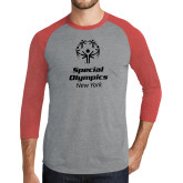 Grey/Red Heather Tri Blend Baseball Raglan-Primary Mark Vertical