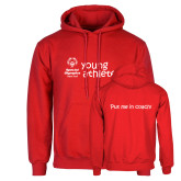 Red Fleece Hoodie-Young Athletes Shirt Front