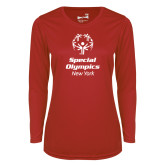 Ladies Syntrel Performance Red Longsleeve Shirt-Primary Mark Vertical