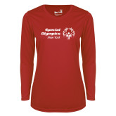 Ladies Syntrel Performance Red Longsleeve Shirt-Primary Mark Horizontal