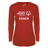 Ladies Syntrel Performance Red Longsleeve Shirt-Coach