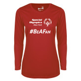 Ladies Syntrel Performance Red Longsleeve Shirt-Hashtag Be A Fan