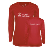 Ladies Syntrel Performance Red Longsleeve Shirt-Young Athletes Shirt Front