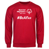 Red Fleece Crew-Hashtag Be A Fan