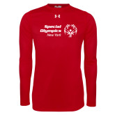 Under Armour Red Long Sleeve Tech Tee-Primary Mark Horizontal
