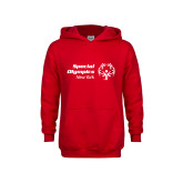 Youth Red Fleece Hoodie-Primary Mark Horizontal
