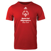 Adidas Red Logo T Shirt-Primary Mark Vertical