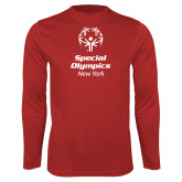 Performance Red Longsleeve Shirt-Primary Mark Vertical