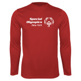 Performance Red Longsleeve Shirt-Primary Mark Horizontal