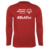 Performance Red Longsleeve Shirt-Hashtag Be A Fan