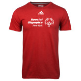 Adidas Climalite Red Ultimate Performance Tee-Primary Mark Horizontal