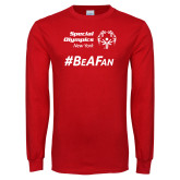 Red Long Sleeve T Shirt-Hashtag Be A Fan