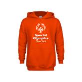 Youth Orange Fleece Hoodie-Primary Mark Vertical