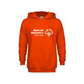 Youth Orange Fleece Hoodie-Primary Mark Horizontal