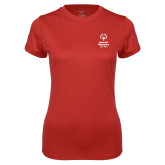 Ladies Syntrel Performance Red Tee-Primary Mark Vertical
