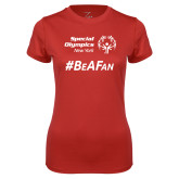 Ladies Syntrel Performance Red Tee-Hashtag Be A Fan